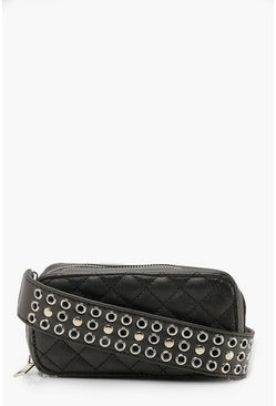 Dam Black Studded Strap Cross Body Quilted Bag