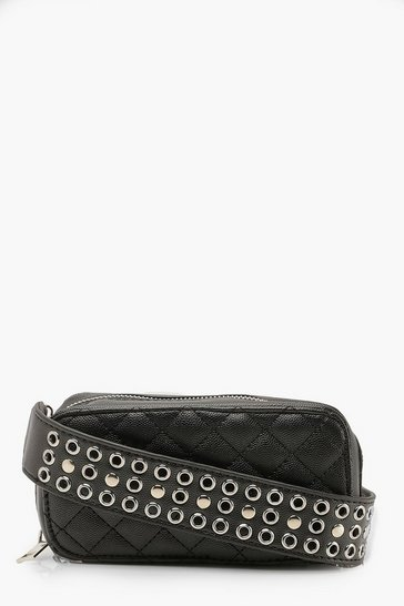 Womens Black Studded Strap Cross Body Quilted Bag