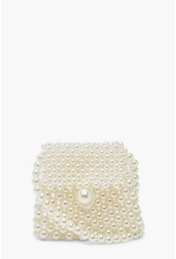 Womens Cream Mini Pearl Cross Body Bag