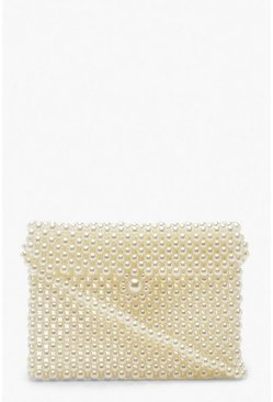 Cream Pearl Messenger Cross Body Bag
