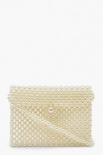Womens Cream Pearl Messenger Cross Body Bag