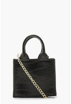 Womens Black Croc Teeny Tiny Cross Body Bag & Chain