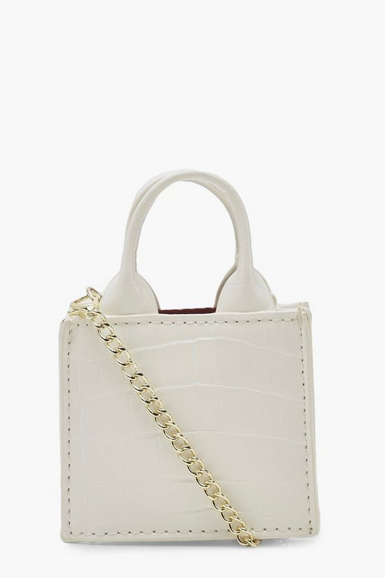 Womens White Croc Teeny Tiny Cross Body Bag & Chain