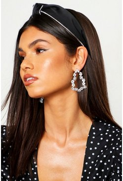 Womens Black Diamante Trim Twist Knot Headband