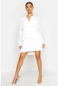 Pleated Shirt Style Smock Dress, White, MUJER