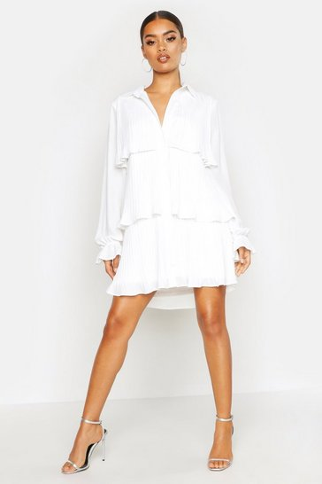 White Pleated Shirt Style Smock Dress