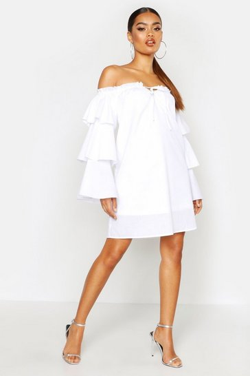Womens White Flare Sleeve Off The Shoulder Smock Dress