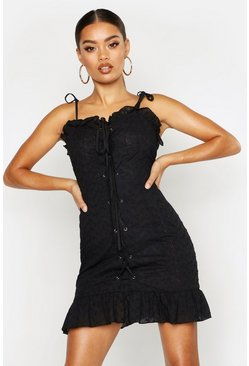 Womens Black Lace Up Broderie Anglaise Dress