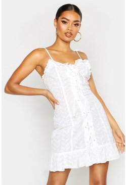 Womens White Lace Up Broderie Anglaise Dress