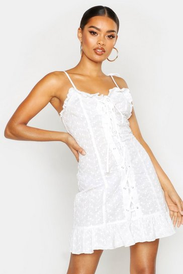 White Lace Up Broderie Anglaise Dress