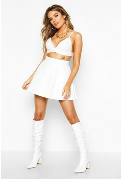 White Pleated Leather Look Mini Skirt