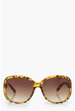 Womens Brown Tortoiseshell Oversized Chain Arm Sunglasses