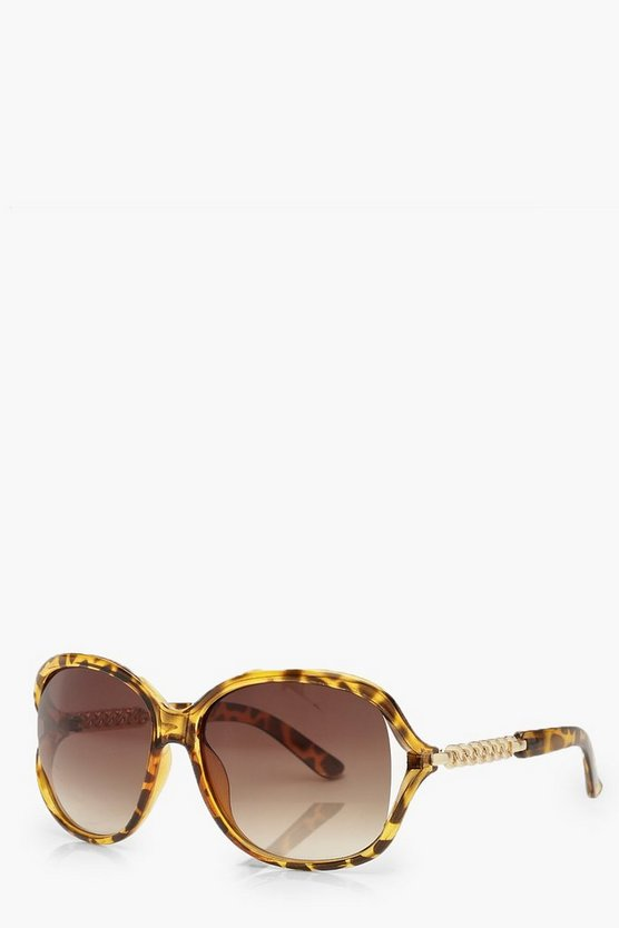 Tortoiseshell Oversized Chain Arm Sunglasses