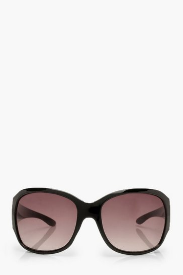 Womens Black Oversized Wrap Around Sunglasses