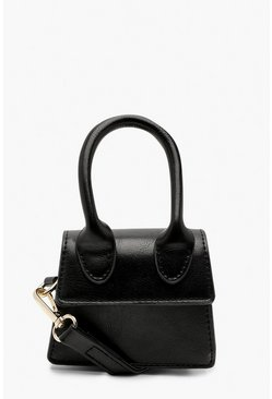 Dam Black Micro Mini Structured Handle Cross Body Bag
