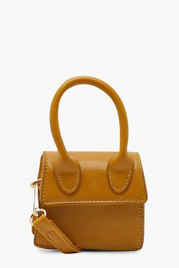 Womens Mustard Micro Mini Structured Handle Cross Body Bag