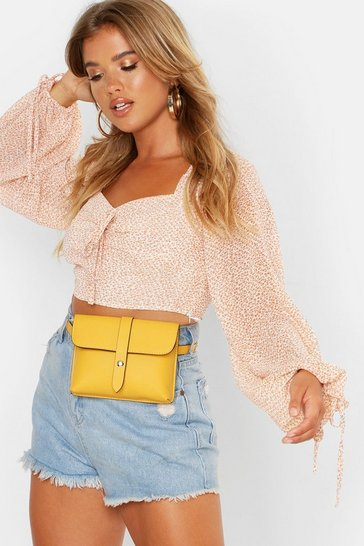 Womens Mustard PU Front Tab Belt Bag