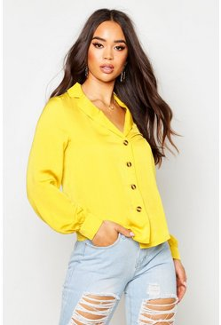 Womens Mustard Satin Button Through Shirt