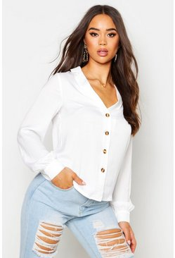 Satin Button Through Shirt, White, FEMMES
