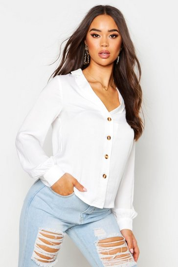 Womens White Satin Button Through Shirt