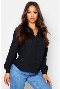 Womens Black Woven Button Detail Shirt
