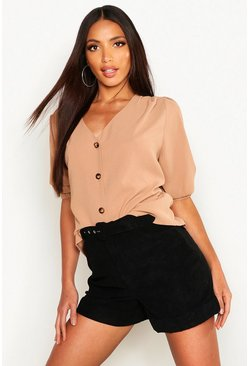Woven Button Through Blouse, Camel, DAMEN