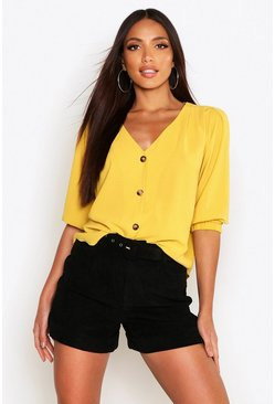 Womens Mustard Woven Button Through Blouse