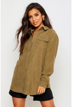 Womens Khaki Suedette Pocket Detail Oversized Shirt