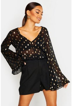 Womens Black Metallic Spot Flared Sleeve Blouse