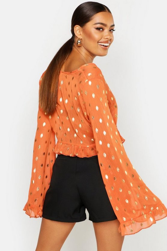Metallic Spot Flared Sleeve Blouse