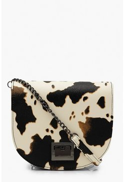 Womens Black Cow Print Cross Body Bag