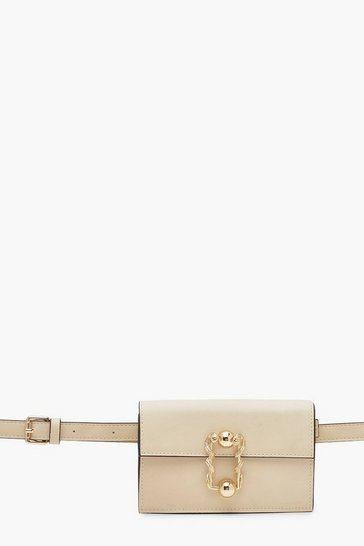 Womens Cream PU Buckle Clutch Belt Bag