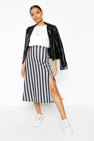Womens Grey Slit Front Striped Midi Skirt