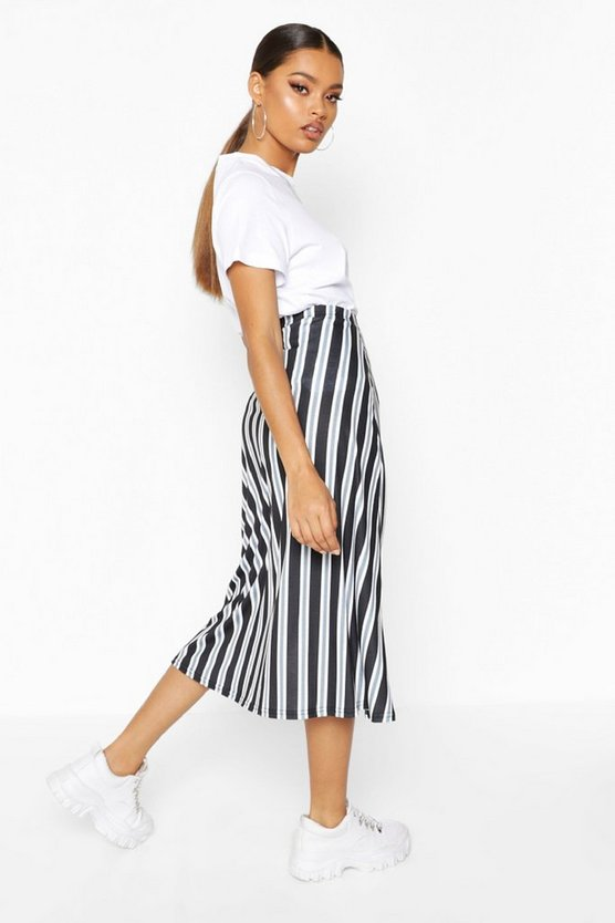 Slit Front Striped Midi Skirt