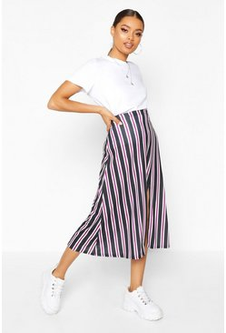 Womens Wine Slit Front Striped Midi Skirt