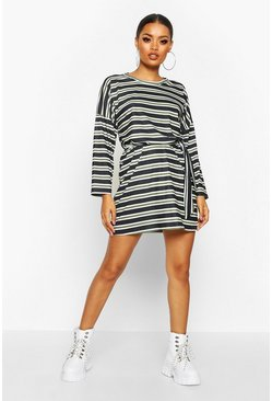 Womens Khaki Striped Jersey Easy Fit Sash Dress