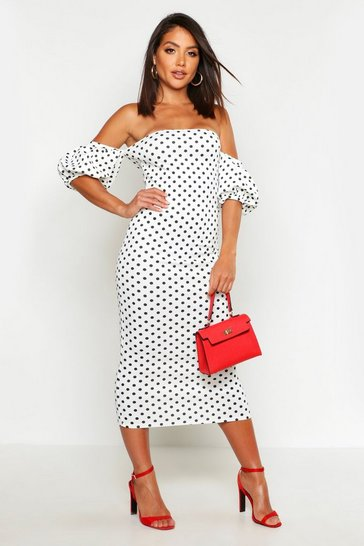 Womens White Polka Dot Volume Sleeve Midi Dress