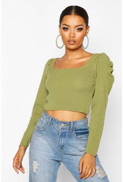 Womens Olive Puff Sleeve Knitted Top
