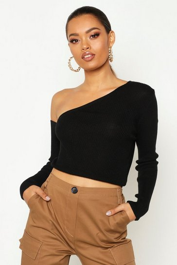 Womens Black Knitted Asymmetric Top