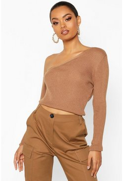 Womens Rust Knitted Asymmetric Top