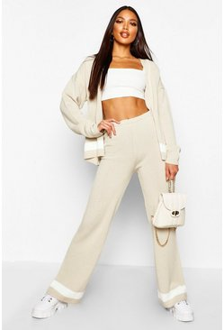 Womens Stone Cardigan & Wide Leg Trouser Knitted Set