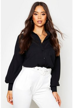 Womens Black Woven Oversized Long Sleeve Shirt