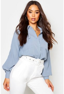 Womens Denim-blue Woven Oversized Long Sleeve Shirt