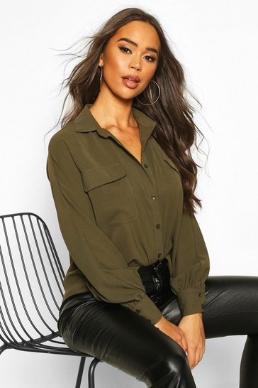 Womens Khaki Woven Oversized Long Sleeve Shirt