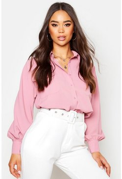 Womens Pink Woven Oversized Long Sleeve Shirt