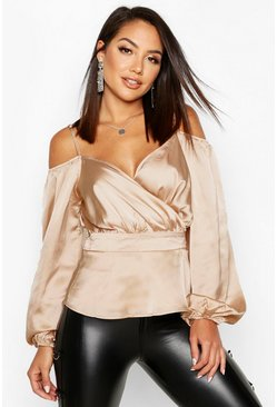 Nude Satin Cold Shoulder Peplum Blouse