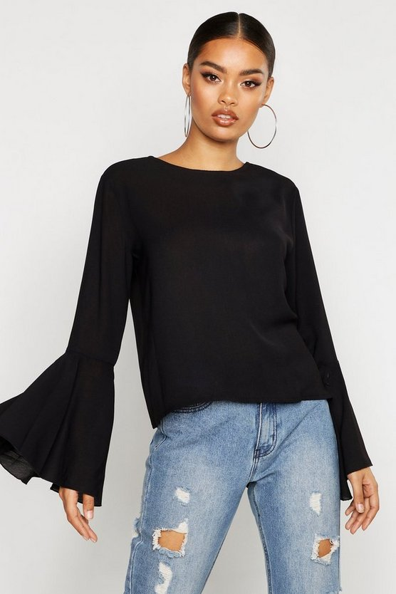 Womens Black Woven Flared Sleeve Blouse