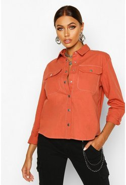 Womens Terracotta Woven Stitch Detail Shirt