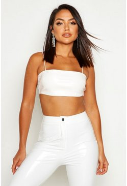 White Mock Croc PU Square Neck Bralet