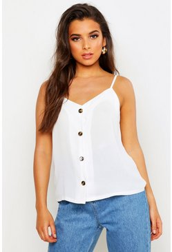 Button Front Woven Cami, White, Donna